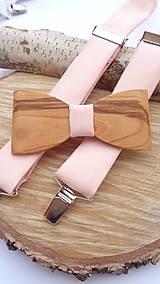 Doplnky - Pánsky set - Pánsky drevený motýlik čerešňa + pudrovo broskyňové traky - 11538746_