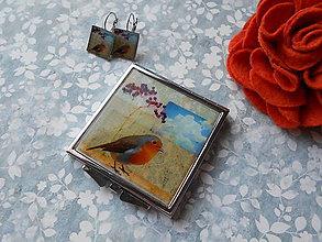 Zrkadielka - Vtáčia neha I. (zrkadielko + náušničky) - 11540452_