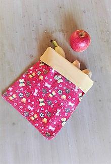 Úžitkový textil - Desiatové vrecúško dvojvrstvové na gombík _ motýliky - 11540496_