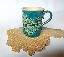 Nádoby - Keramická šálka - Tyrkysovo zelenkavá - 11539796_