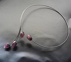 Náhrdelníky - Náhrdelník PET ružové puky - 11540066_