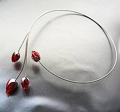 Náhrdelníky - Náhrdelník PET červené puky - 11540072_