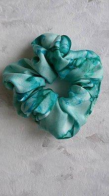 Ozdoby do vlasov - Hodvábna gumička do vlasov- Smaragdová / veľká - 11540664_