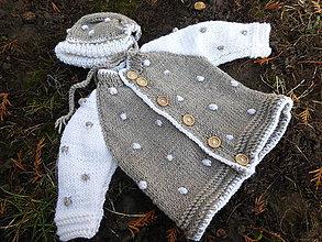 Detské oblečenie - čiapka a svetrík s bodkami-merino - 11537771_