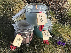 """Svietidlá a sviečky - Sójové sviečky """"Ty & ja sme my"""" s dreveným knôtom - 11540324_"""
