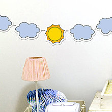 Dekorácie - Detská girlanda slniečko a obláčiky - 11539004_