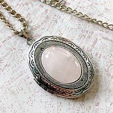 Náhrdelníky - Oval Rose Quartz Locket Necklace / Oválny otvárací medailón s ruženínom - 11541469_