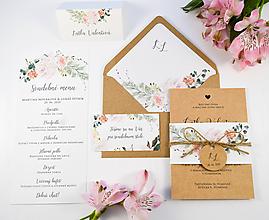 Papiernictvo - Svadobné oznámenie Rosa s manžetou hnedé - 11543716_