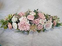 Kytice pre nevestu - aranžmán, výzdoba na stôl mladomanželov púdrová ružová  - 11541319_