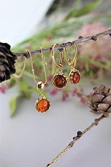 Sady šperkov - jantárové náušnice a prívesok v striebre - luxusný set - 11542195_