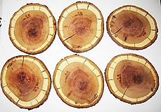 Pomôcky - Drevené veľké pláty z dreva SLIVKA - sada 6 kusy, priemer 14 cm - 11543352_