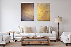 Obrazy - Milujem ťa vo dne v noci - dvojdielny zlatý abstrakt - 11543075_
