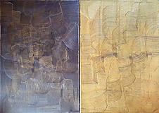 Obrazy - Milujem ťa vo dne v noci - dvojdielny zlatý abstrakt - 11543080_