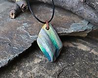 Náhrdelníky - Pruhovaný - kamenný prívesok - 11543976_