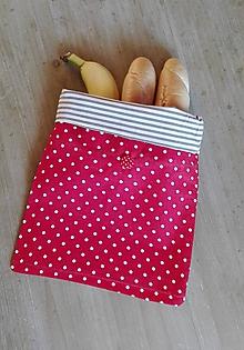 Úžitkový textil - Desiatové vrecúško dvojvrstvové na gombík _ bodka a pásik - 11540818_