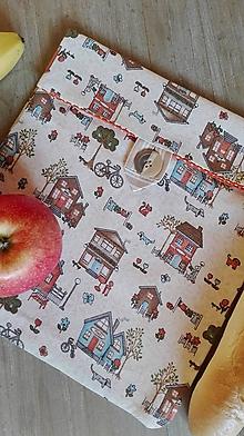 Úžitkový textil - Desiatové vrecúško dvojvrstvové na gombík _vintage domčeky - 11543368_