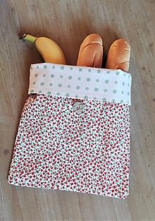 Úžitkový textil - Desiatové vrecúško dvojvrstvové na gombík _ jemný kvietok - 11543386_