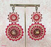 Náušnice - Dlhé ružové Swarovski náušnice - 11543536_
