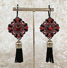 Náušnice - Vášnivé červeno-čierne náušnice so strapčekom - 11543561_