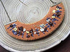 Náhrdelníky - ručne vyšívaný horčicový náhrdelník jeseň   miniberry - 11543319_