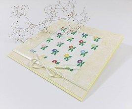 Papiernictvo - Jarné kvety II - folk vyšívaný pozdrav - 11543940_