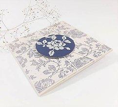 Papiernictvo - Modrý folk VI - folk vyšívaný pozdrav - 11543972_