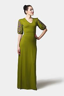 Šaty - Šaty dlhé Joy zelené s vyšívanými rukávmi - 11546756_