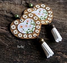 Náušnice - Náušnice FOLK NATUR srdce, margarétky - 11546910_