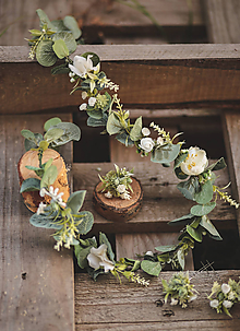 Ozdoby do vlasov - Eukalyptový svadobný pletenec a 3 kusy vláseniek - 11547916_