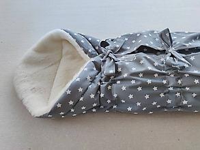 Textil - VLNIENKA Klasická zavinovačka pre novorodenca zimná 100% MERINO TOP super wash Hviezdička šedá - 11547869_