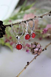 """Sady šperkov - """"koralové"""" náušnice a prívesok v striebre - luxusný set - 11544328_"""