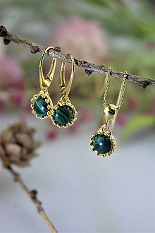 Sady šperkov - malachit náušnice a prívesok v striebre - luxusný set - 11545599_