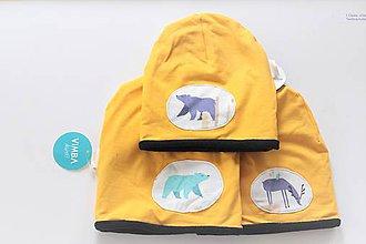 """Detské súpravy - Zimná čiapka """"medvede a jeleni"""" - 11545805_"""