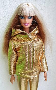 Hračky - Zlatá bunda s kapucňou pre Barbie - 11545868_