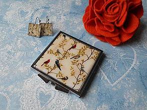 Zrkadielka - Vtáčia neha II. (zrkadielko + náušničky) - 11546629_