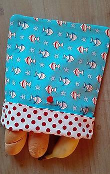 Úžitkový textil - Desiatové vrecúško dvojvrstvové na gombík _ rybičky - 11544390_