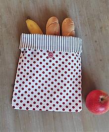 Úžitkový textil - Desiatové vrecúško dvojvrstvové na gombík _ bodka a pásik II. - 11544773_