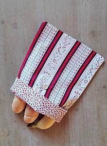 Úžitkový textil - Desiatové vrecúško dvojvrstvové na gombík _  folk pásik a kvietok - 11544868_