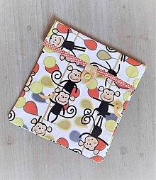Úžitkový textil - Desiatové vrecúško dvojvrstvové na gombík _ opice z našej police - 11544993_