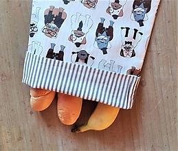 Úžitkový textil - Desiatové vrecúško dvojvrstvové na gombík _ psí elegáni - 11545017_