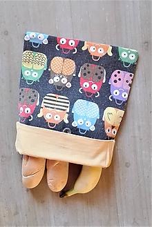 Úžitkový textil - Desiatové vrecúško dvojvrstvové na gombík _ veselé aktovky sovičky - 11545325_