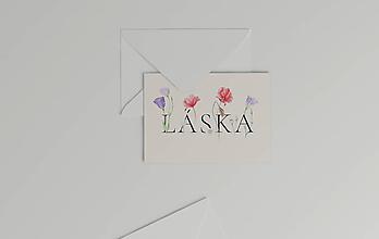 Papiernictvo - Láskavý pozdrav Láska | botanická ilustrácia maku vlčieho a lisianthus - 11544875_