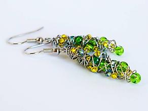 Náušnice - Náušničky s modrými, zelenými a žltými korálkami - 11544507_
