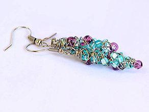Náušnice - Náušničky s fialovými a tyrkysovými korálkami - 11544515_