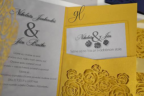 Svadobné tlačoviny ruže (Pozvánka dvojfarebná 9x5 cm - Strieborná)