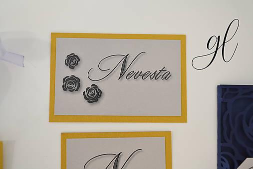 Svadobné tlačoviny ruže (Menovka dvojfarebná 9x5 cm - Strieborná)