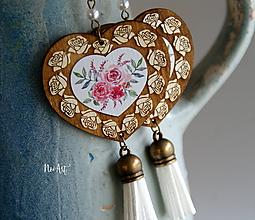 Náušnice - Náušnice FOLK NATUR srdce, kvety - 11548276_