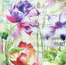 Papier - S1463 - Servítky - kvety, akvarel, vintage - 11550487_