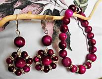 Sady šperkov - Tigrie oko - fuchsiové - 11549770_