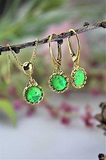Sady šperkov - tyrkys náušnice a prívesok v striebre - (Mohavský zelený tyrkys) - 11548144_